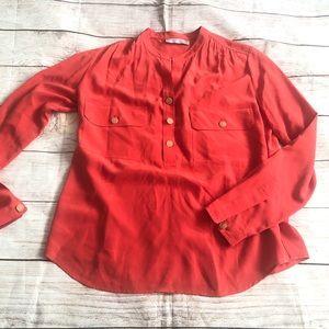 Vince 100% Silk orange blouse size S